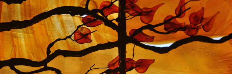 Contemporary Art Glass – Custom Hand-Made Bevels with Sculpted Leaves and Branches (Warrenton, VA)