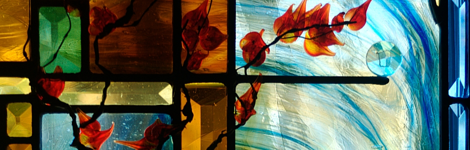 Contemporary Art Glass – Custom Hand-Made Bevels with Flame-worked Leaves and Branches (Warrenton, VA)