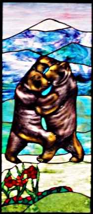 Painted Stained Glass Bears ©Cain Art Glass 2016, All Rights Reserved