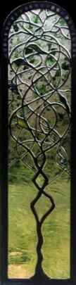 Sculpted Vine Contemporary Stained Glass Window ©Cain Art Glass 2016, All Rights Reserved