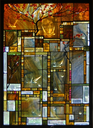 Contemporary Stained Glass Window Tree and Bevels ©Cain Art Glass 2016, All Rights Reserved
