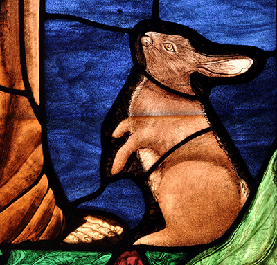 Painted Stained Glass Rabbit ©Cain Art Glass 2016, All Rights Reserved