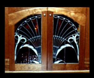 Traditional Stained Glass Art Nouveau Cabinet 01