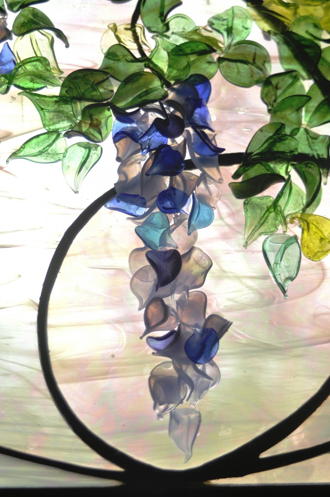 Contemporary Art Nouveau Wisteria Detail ©Cain Art Glass 2016, All Rights Reserved