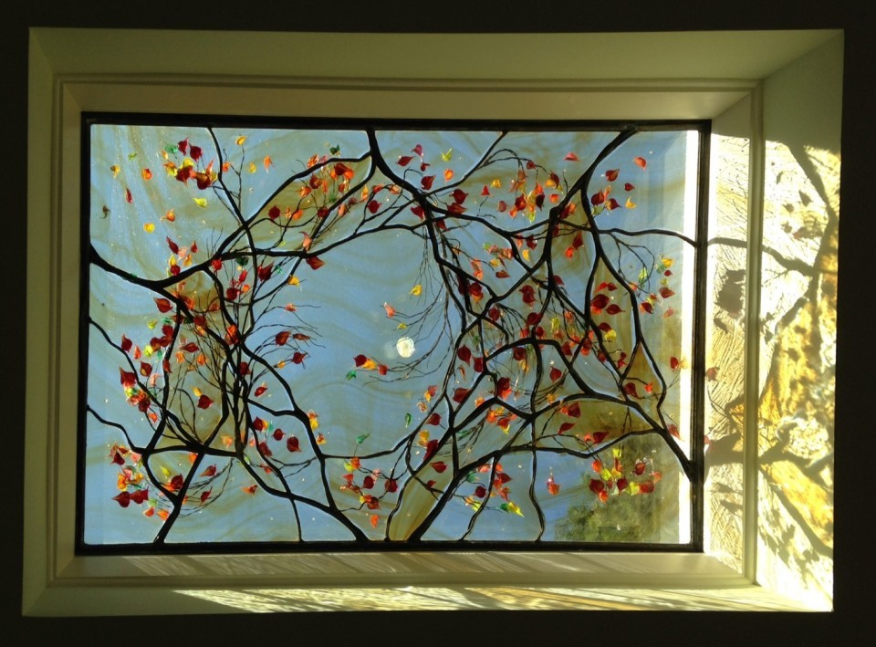 Contemporary Stained Glass Window Skylight Contemporary Stained Glass Window Skylight - Tree and Moon ©Cain Art Glass 2016, All Rights Reserved