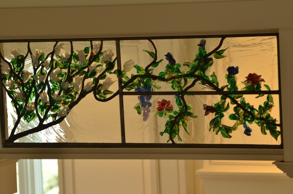 Stained Glass Magnolia Tree Transom ©Cain Art Glass 2016, All Rights Reserved