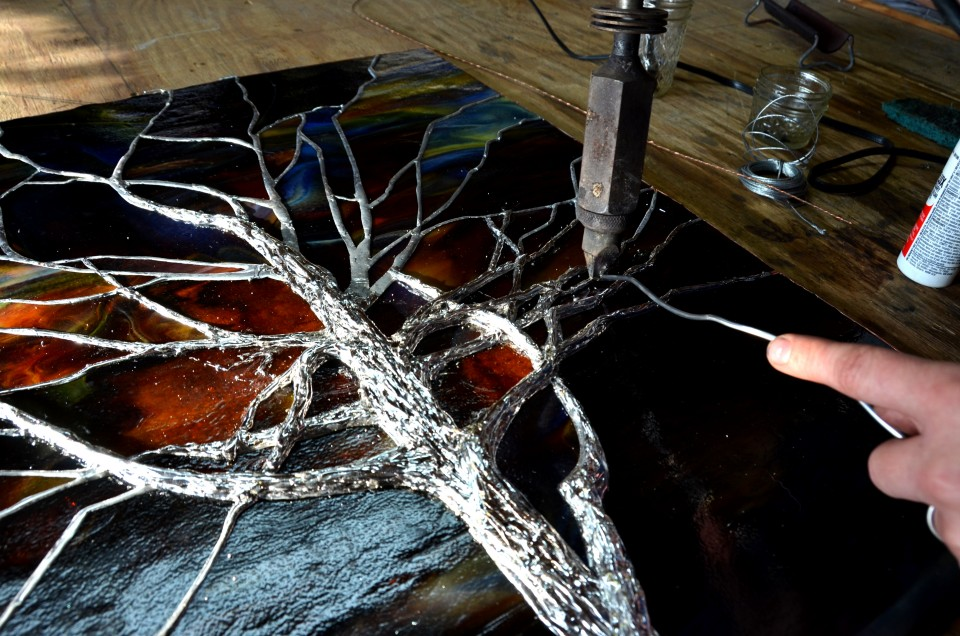 Stained Glass Sunset Tree Solder Scuplting ©Cain Art Glass 2016, All Rights Reserved