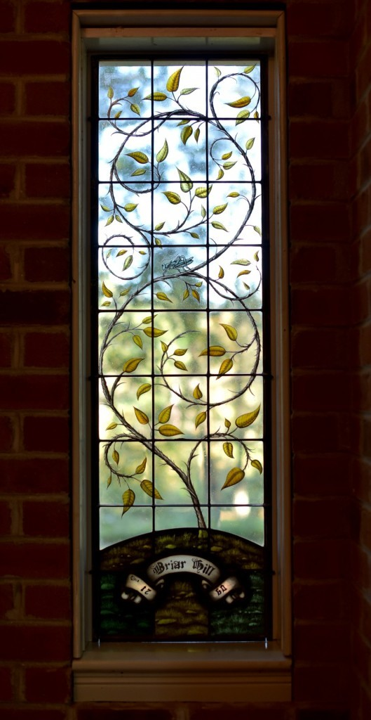 Contemporary Stained Glass Window Art Nouveau Vine and Leaves<BR/>©Cain Art Glass 2016, All Rights Reserved