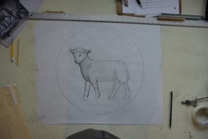 Cain Inc. Art Glass Stained Glass Drawing Design Lamb Painted Glass Daniel White