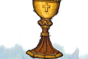 Cain Inc. Wayne Cain Daniel White Painted Glass Stained Glass Art Glass Holy Grail