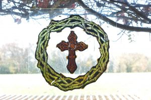 Cain Inc. Wayne Cain Daniel White Stained Glass Art Glass Holy Cross Thorn Crown
