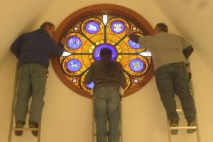 Cain Inc. Wayne Cain Installing Stained Glass