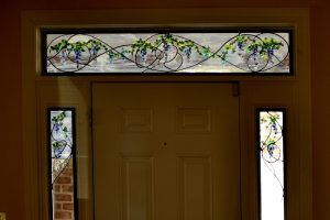 Cain Inc. Wisteria Entryway Transom Sidelioghts Stained Glass Solder Sculpted Art Glass Flameworked leaves and petals