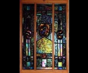 Contemporary Art Nouveau Iridized Stained Glass ©Cain Art Glass 2016, All Rights Reserved