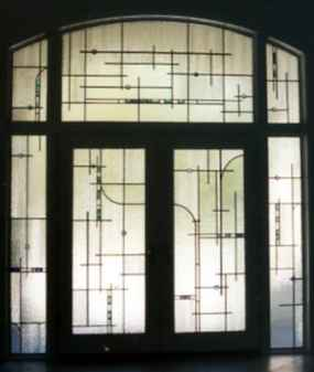 Contemporary Stained Glass Entryway ©Cain Art Glass 2016, All Rights Reserved
