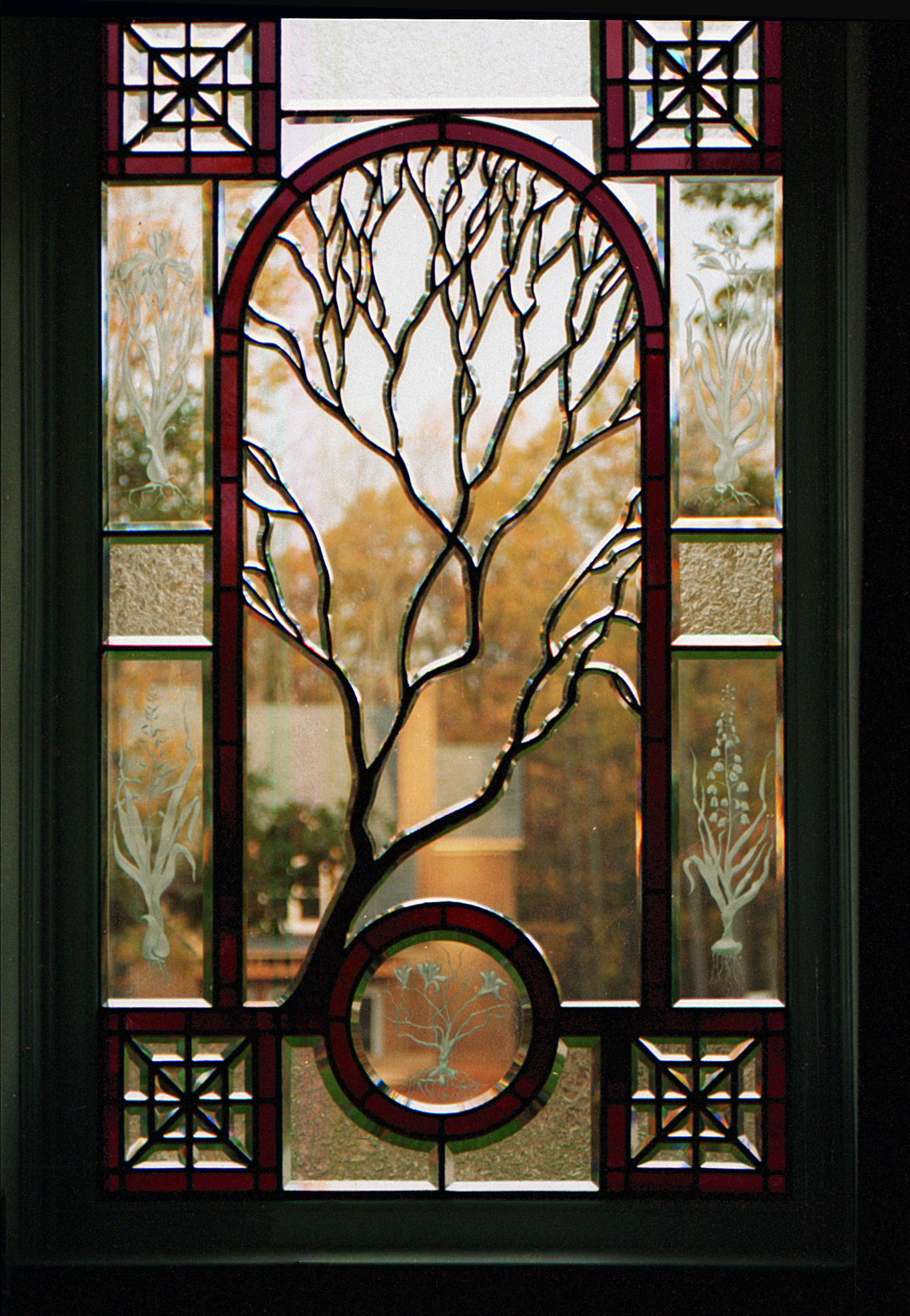 Contemporary Stained Gl Sculpted Tree Beveled Window Cain Art 2016 All Rights