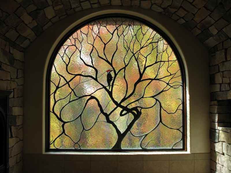 Art Nouveau Stained Glass Tree and Bird ©Cain Art Glass 2016, All Rights Reserved