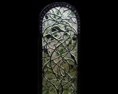Sculpted Vine Stained Glass Window ©Cain Art Glass 2016, All Rights Reserved
