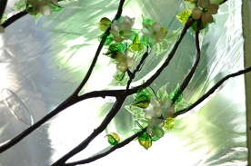 Stained Glass Apple Blossoms Flameworked Detail ©Cain Art Glass 2016, All Rights Reserved