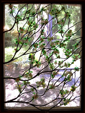 Contemporary Stained Glass Branches and Blossoms ©Cain Art Glass 2016, All Rights Reserved