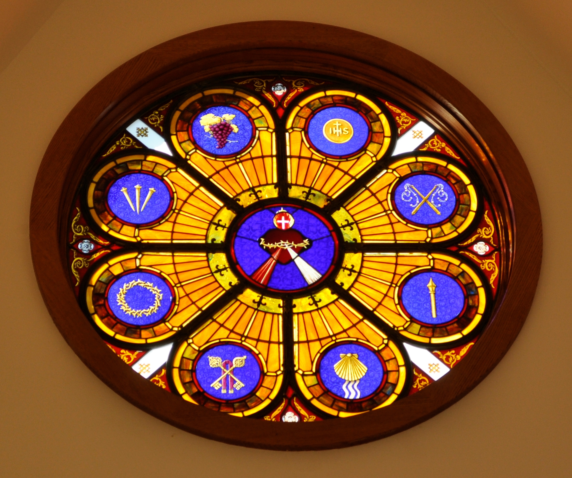 Stained Glass Rose Window Sacred Heart of Jesus