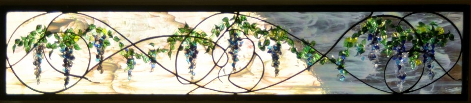 Stained Glass Wisteria Transom Contemporary Art Nouveau ©Cain Art Glass 2016, All Rights Reserved