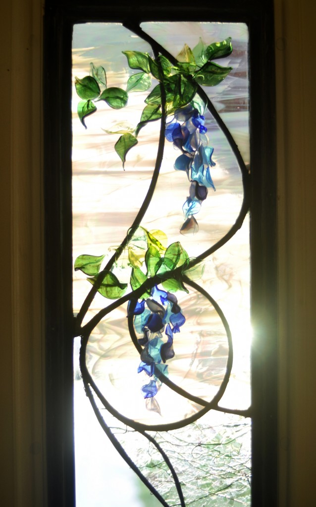 Stained Glass Wisteria Flameworked Leaves and Petals ©Cain Art Glass 2016, All Rights Reserved