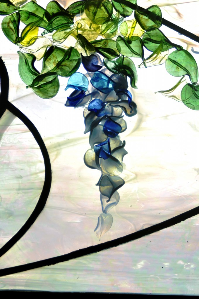 Contemporary Stained Glass Wisteria Flameworked ©Cain Art Glass 2016, All Rights Reserved