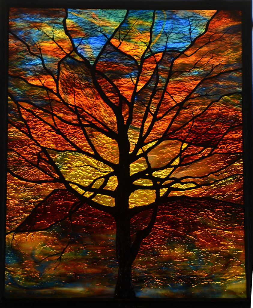 Stained Glass Sunset Tree - Sculpted Solder ©Cain Art Glass 2016, All Rights Reserved