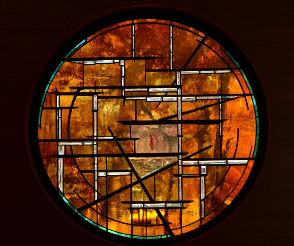 Stained Glass Unitarian Universalist Chalice Contemporary Window ©Cain Art Glass 2016, All Rights Reserved