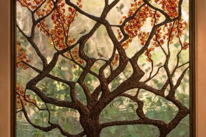 Autumn Tree Stained Glass Art Glass Flameworked Leaves Lampworked Sculpture Soldered Art
