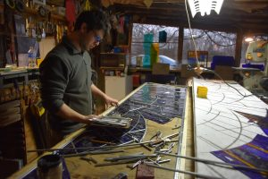Cain Inc. Daniel White Assembling Stained Glass Art Glass Zinc Came Cut Glass