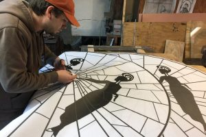 Cain Inc. Daniel White Glass Pattern Cutting Glass Stained Glass Art Glass Design Mellow Mushroom Short Pump VA