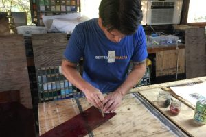 Cain Inc. Daniel White Stained Glass Art Glass Cutting Glass Hand Cut Glass