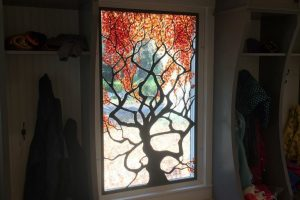 Cain Inc. Falmeworked Fall Autumn Tree Lampworked Solder Sculptured Wayne Cain Daniel White Stained Glass Art Glass