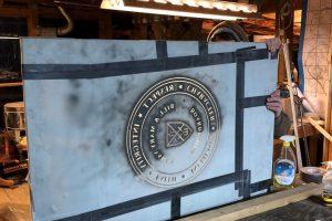 Cain Inc. Fork Union Military Academy Carved Glass Sandblasted Glass Vinyl Daniel White AssemblyCutting