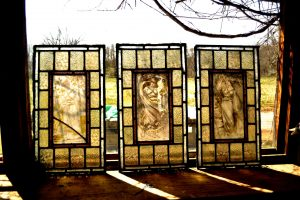 Cain Inc. Stained Glass Restoration Replacing Broken Glass Painted Glass 3 Maidens