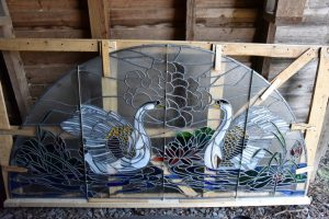Cain Inc. Swan Stained Glass Art Glass Transom Window