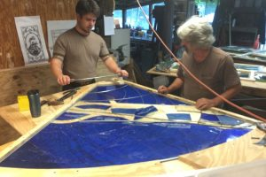 Cain Inc. Wayne Cain Assembling Stained Glass Window Art Glass