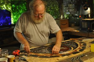 Cain Inc. Wayne Cain Craftsman Releading Stained Glass Transom Restoration