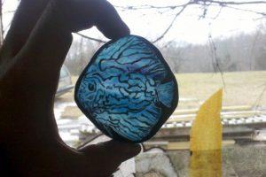 Cain Inc. Wayne Cain Cut Glass Fish Painted Glass