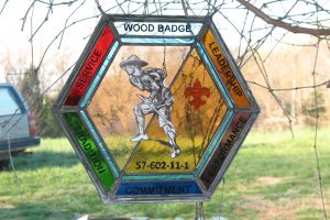 Cain Inc. Wayne Cain Daniel White Wood Badge Boy Scouts Stained Glass Leaded Glass Painted Glass