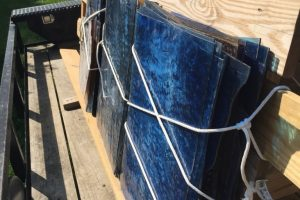 Cain Inc. Wayne Cain Glass Rack on truck trailor transporting glass stained glass art glass