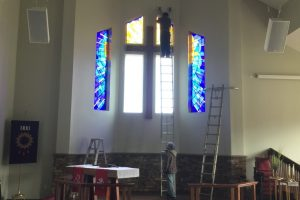 Cain Inc. Wayne Cain Installing Stained Glass Art Glass Sacred Religous Church Grace & Glory