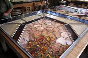Cain Inc. Wayne Cain Repair Stained Glass window elk hill fused glass leaded glass solder ssculpturing