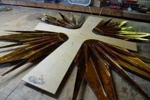 Cain Inc. Wayne Cain Stained Glass Art Glass Cross