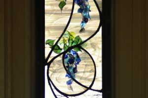 Cain Inc. Wisteria Sidelight Entryway Stained Glass Art Glass Leaded Glass Flameworked Lampworked window