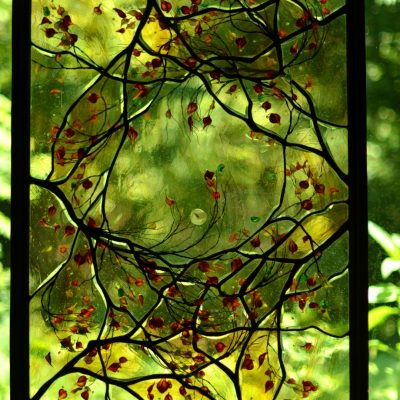 Contemporary Stained Glass Window Skylight - Tree and Moon - Cain Art Glass (1)