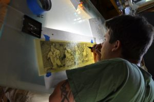 Daniel White Painting Glass Billy Ireland Stained Glass ©Cain Inc.