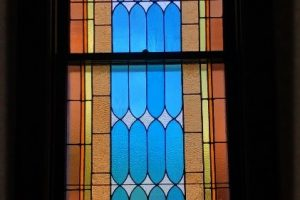 Monterey United Methodist Stained Glass Art Glass Restoration Church Repair Protective Covering Tempered Glass